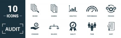 Naklejka Audit icon set. Monochrome sign collection with review, examine, analytics, performance and over icons. Audit elements set.