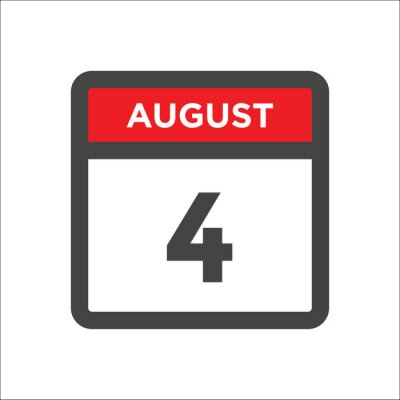Naklejka August 4 calendar icon with day of month