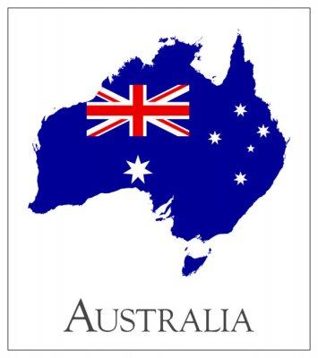 Naklejka Australia flag map