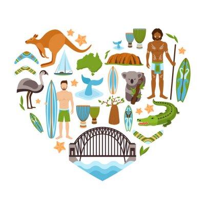 Naklejka Australia kształt serca