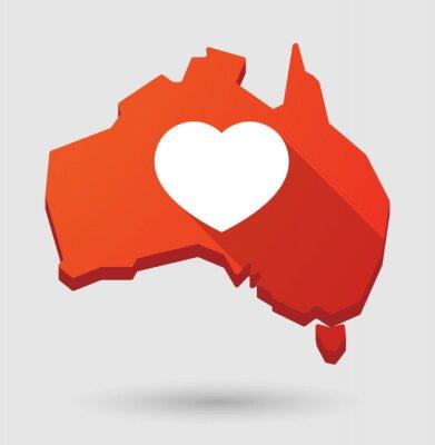 Naklejka Australia map ikona z serca
