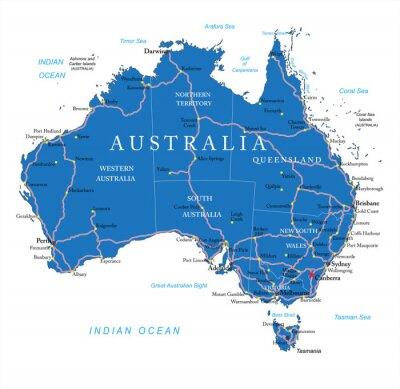 Naklejka Australia mapa drogowa