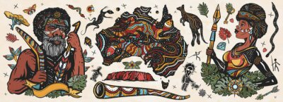 Naklejka Australia. Old school tattoo vector collection. Ethnic Australian woman in traditional costume. Aboriginal tribes bushmen. Boomerang,  kangaroo, didgeridoo, map. Tradition, people, culture