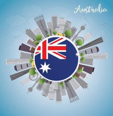 Naklejka Australia Skyline z szarymi budynków i błękitne niebo. Niektóre elementy mają tryb przezroczystości różni się od normalnego.
