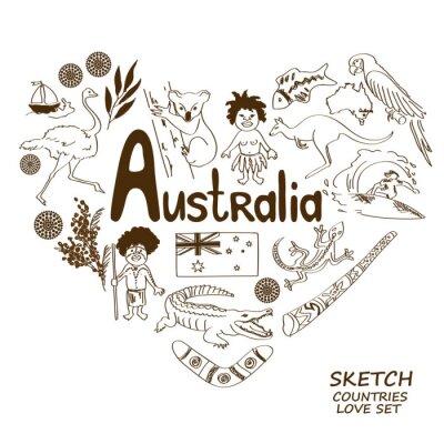 Naklejka Australian symbols in heart shape concept.