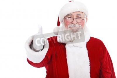 Naklejka autentyczne Mikołaj z prawdziwą brodą i wielkim uśmiecha dając kciuk w górę, na białym tle
