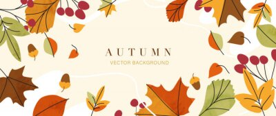 Naklejka Autumn background vector. Autumn shopping event illustration wallpaper with hand drawn icons set. This design good for banner, sale poster, packaging background and greeting card.