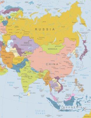 Naklejka Azja-bardzo szczegółowe map.Layers używane.