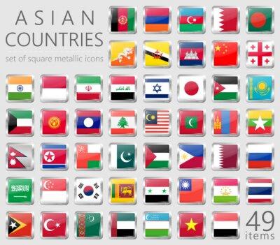Naklejka Azjatyckie flagi. Kwadratowe Metalowe Ikony