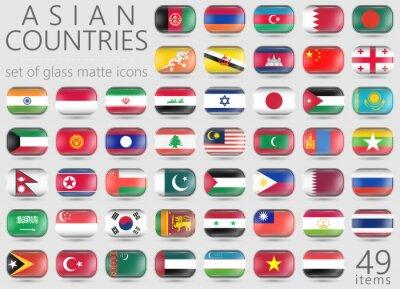 Naklejka Azjatyckie flagi. Prostokątne szkła matowy ikony