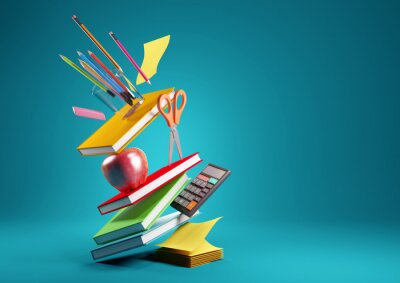 Naklejka Back to school education background concept with falling and balancing school accessories and items. 3D render illustration.