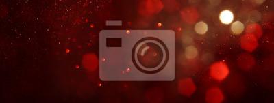 Naklejka background of abstract red, gold and black glitter lights. defocused. banner