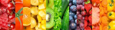 Naklejka Background of fruits, vegetables and berries. Fresh food