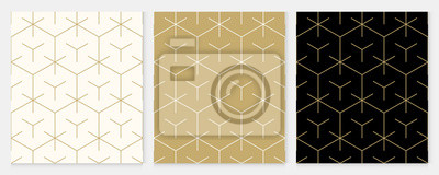 Naklejka Background pattern seamless geometric line abstract gold luxury color vector. Christmas background.