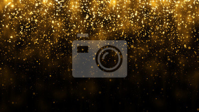 Naklejka Background with falling golden glitter particles. Falling gold confetti with magic light. Beautiful light background