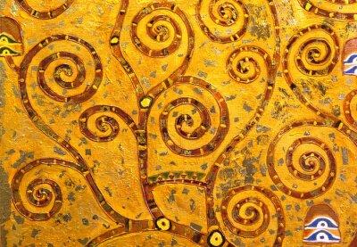Naklejka Bączek abstrakcyjna drzewa, olej na płótnie