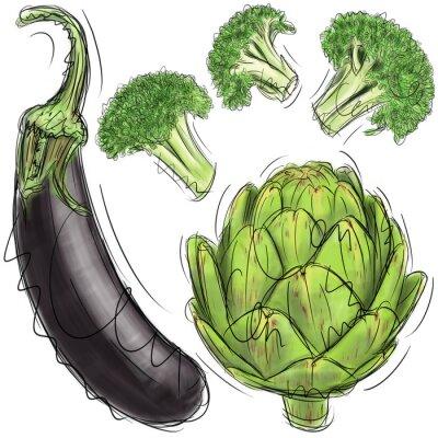 Naklejka Bakłażan, karczochy i brokuły