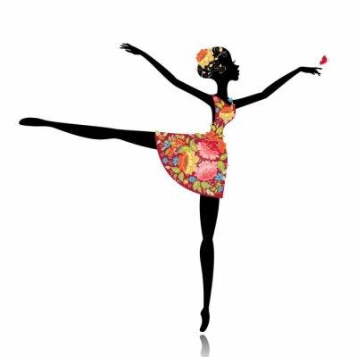 Naklejka baleriny w sukni kwiat