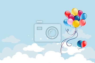Naklejka Balloons on blue sky
