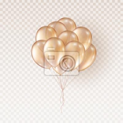 Naklejka Balony na przezroczystym tle. Wektorowa realistyczna wiązka helu złotej róży urodzinowy balonu szablon.