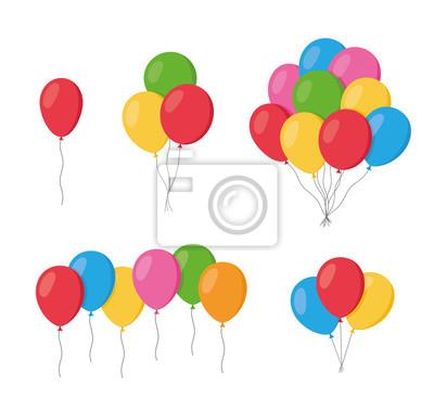 Naklejka Balony w kreskówka stylu płaski na białym tle zestaw na białym tle. Kilka balonów - wektor zapasów.
