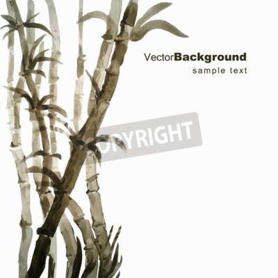 Naklejka Bambus akwarela ręcznie wyciągnąć ilustracji wektorowych z ramką na tekst