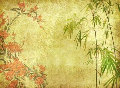 Naklejka bambus i kwiat śliwy na starej zabytkowej tekstury papieru.