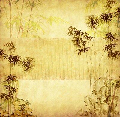 Naklejka bambus na starych grunge papieru tekstury tła