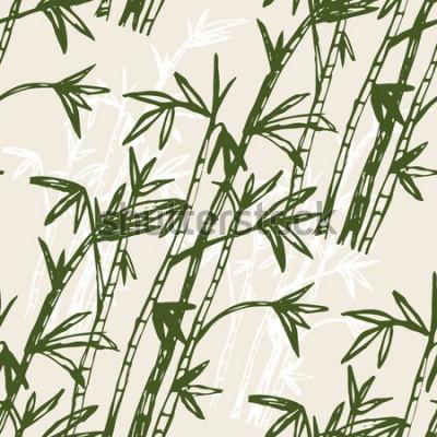 Naklejka Bambusowy lasowy tło wzór. Ręcznie utopić bambusowy las. Ilustracji wektorowych