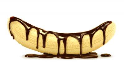 Naklejka Banan w czekoladzie, ilustracji wektorowych