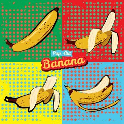 Naklejka Banana otworzył banan ugryziony skórki od banana banana pop-artu ilustracja wektora