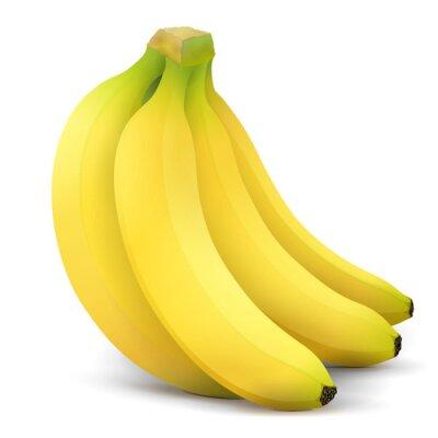 Naklejka Banana owoce bliska. Wiązka bananów wyizolowanych na białym tle