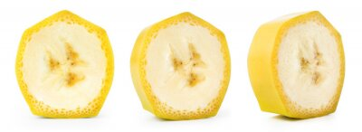 Naklejka Banana slice isolated. Cut bananas on white. Set of banana slices on white background.