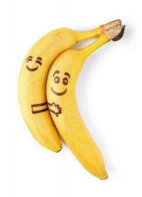 Naklejka banany z buźki, para w koncepcji miłości