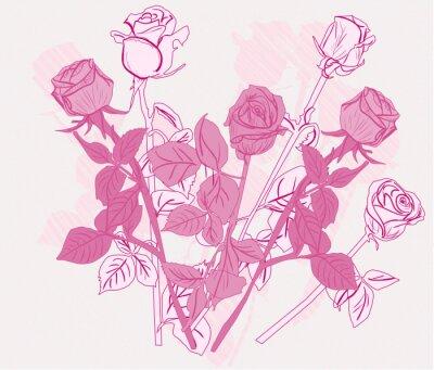 Naklejka banda sześciu różowy róż szkicu