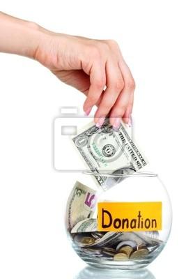 Naklejka Bank Szkło do wskazówek z pieniędzmi i ręcznie samodzielnie na białym tle. Ukrai