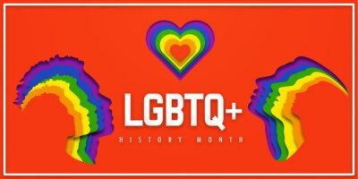 Naklejka Banner LGBTQ+ HISTORY MONTH.  People's faces look up on heart in LGBT colors. Paper cut. Minority problem. PRIDE parade. Coexistence harmony and multicultural community integration.