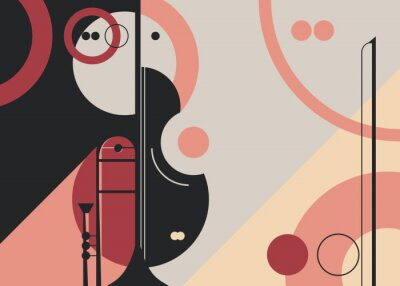 Naklejka Banner template with trumpet and violin. Flyer design for concert of classical music.