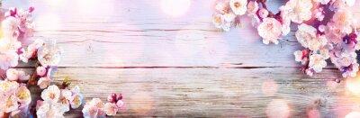 Naklejka Banner Wiosna - Różowe kwiaty na drewnianej desce