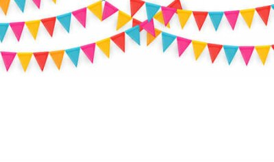 Naklejka Banner with garland of flags and ribbons. Holiday Party background for birthday party, carnava. Vector Illustration