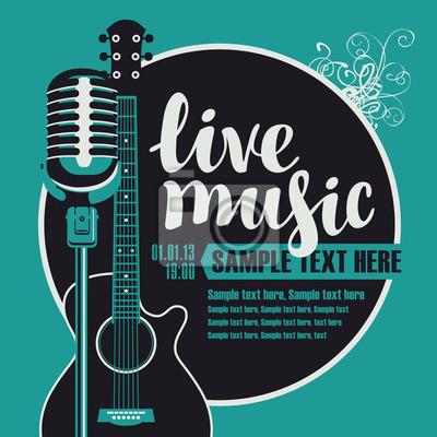 Naklejka Banner z akustyczną gitarą i mikrofonem na koncercie muzyką na żywo