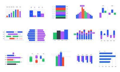 Bar charts. Trends statistic graphic, timeline chart and business infographics elements vector set. Company profit graph. Financial and stock market presentation infocharts on white background