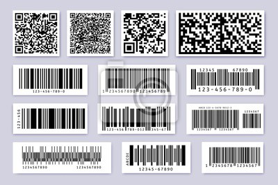 Barcode labels. Product label bar sticker, barcodes badges and industrial qr code isolated symbols vector set. Identification codes for product selling, goods tracking and inventory id tags