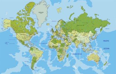 Naklejka Bardzo szczegółowe polityczna mapa świata z etykietowania.
