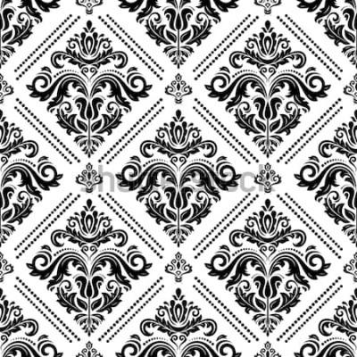 Naklejka Barok wektor klasyczny czarno-biały wzór. Bezszwowy abstrakcjonistyczny tło z powtarzać elementy