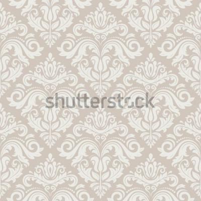 Naklejka Barok wektor wzór kwiatowy z arabeska i orientalne różowe elementy. Bezszwowe streszczenie tradycyjny ornament do tapet i tła