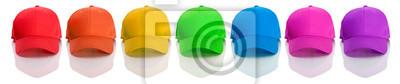 Naklejka Baseball: Rząd Caps Rainbow Colored Baseball