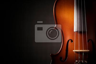 Naklejka Beautiful antique violin on black background
