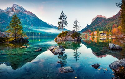 Naklejka Beautiful autumn scene of Hintersee lake. Colorful morning view of Bavarian Alps on the Austrian border, Germany, Europe. Beauty of nature concept background.