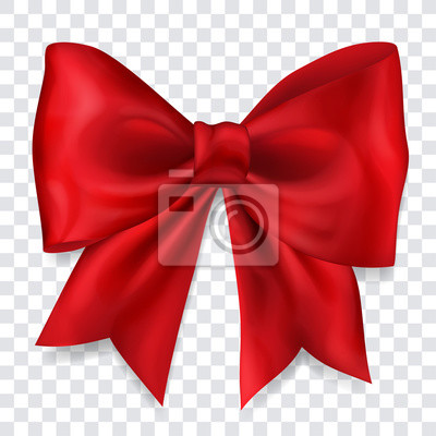 Naklejka Beautiful big bow made of red ribbon with shadow on transparent background